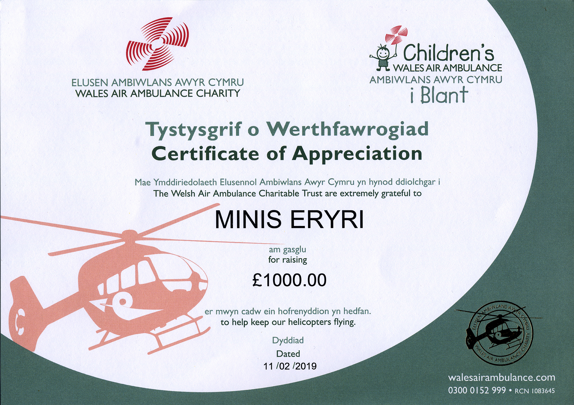 CERTIFICATE OF APPRECIATION FROM WALES AIR AMBULANCE