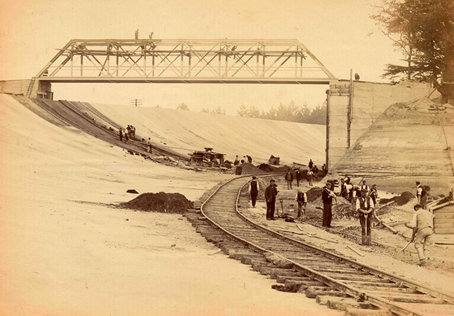 Archival image of the construction of Brooklands Motor Circuit