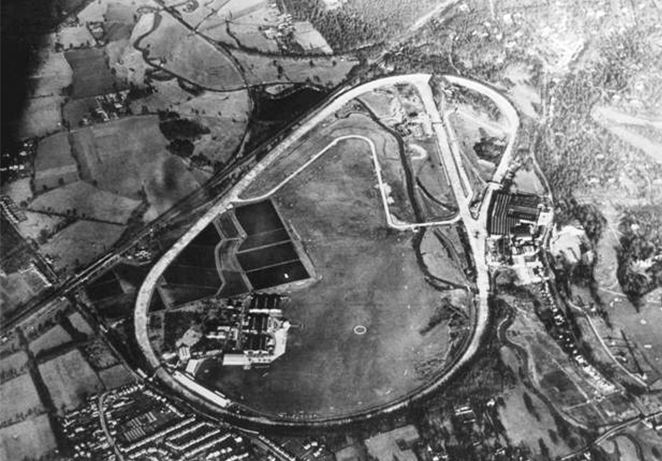 Aerial image of Brooklands Race Circuit, 1939