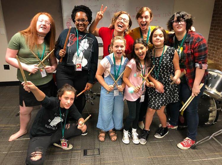 Beginning drums class - Southern Girls Rock Camp, July 2018