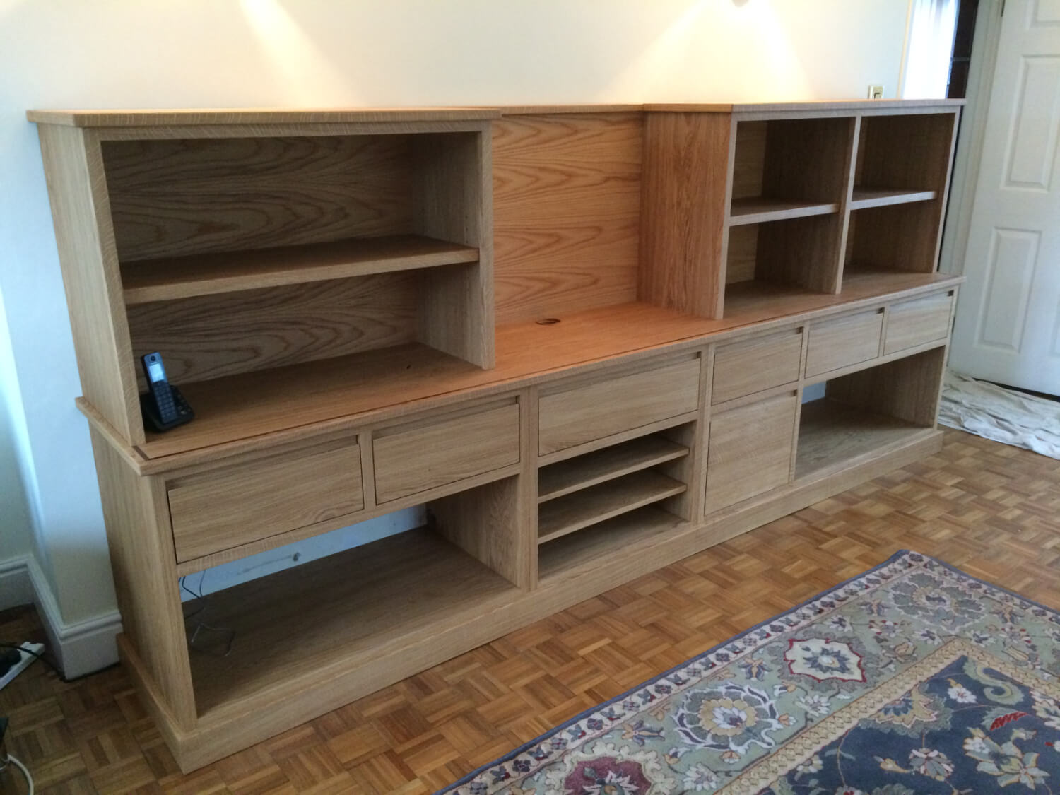 Oak television and stereo unit.