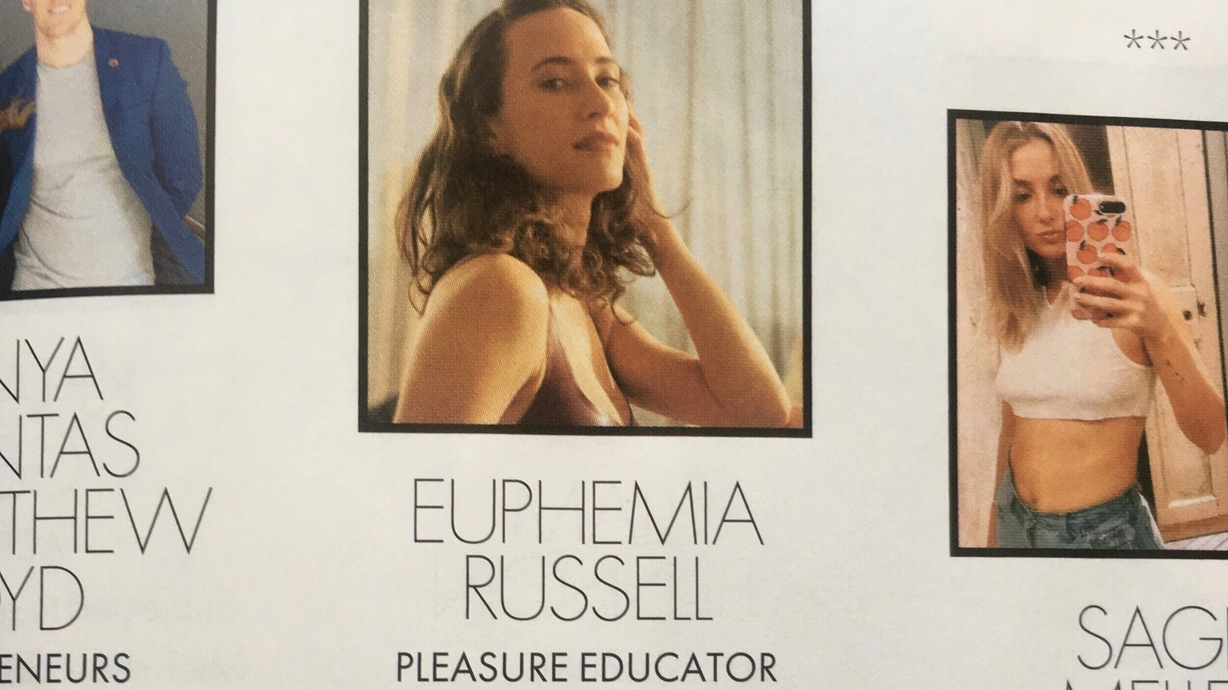 Elle Magazine: 'The ELLE list of changemakers' - Euphemia was included in an inaugural list of changemakers in the Elle Magazine Australia's print edition.