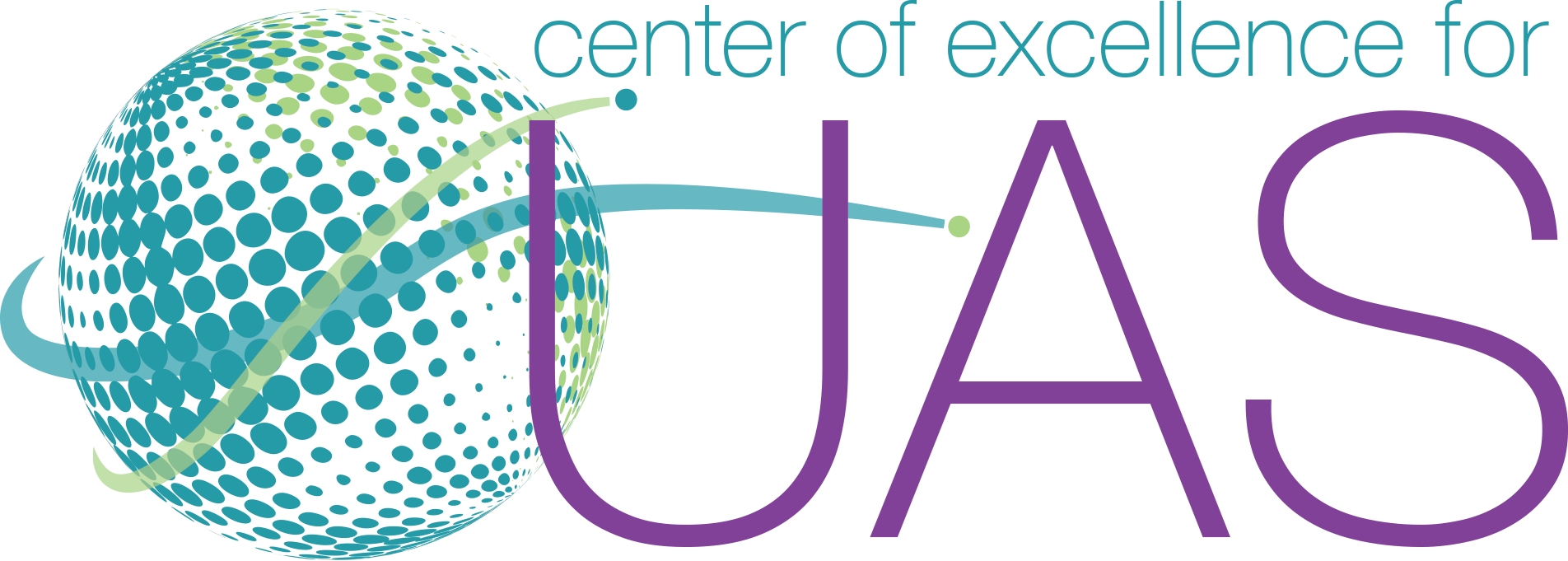 """Globe of overlapping dots next to the words, """"center of excellence for UAS"""""""