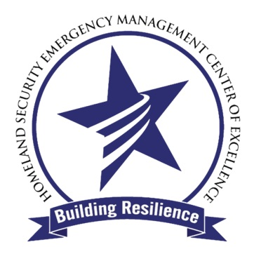 """The words, """"Homeland Security Emergency Management Center of Excellence"""" around a circle containing a star with three ascending lines. Beneath a banner, """"Building resilience"""""""