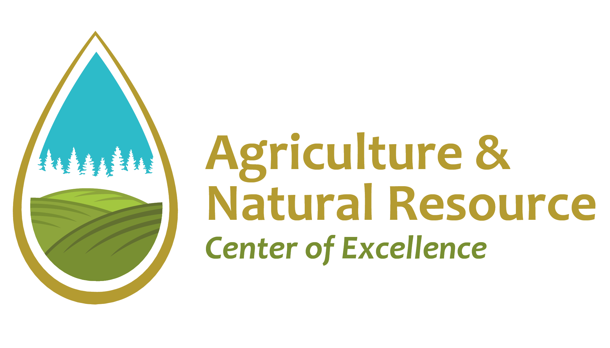 Logo of Agriculture & Natural Resource Center of Excellence, a teardrop shape contains silhouettes of evergreen trees and green fields.
