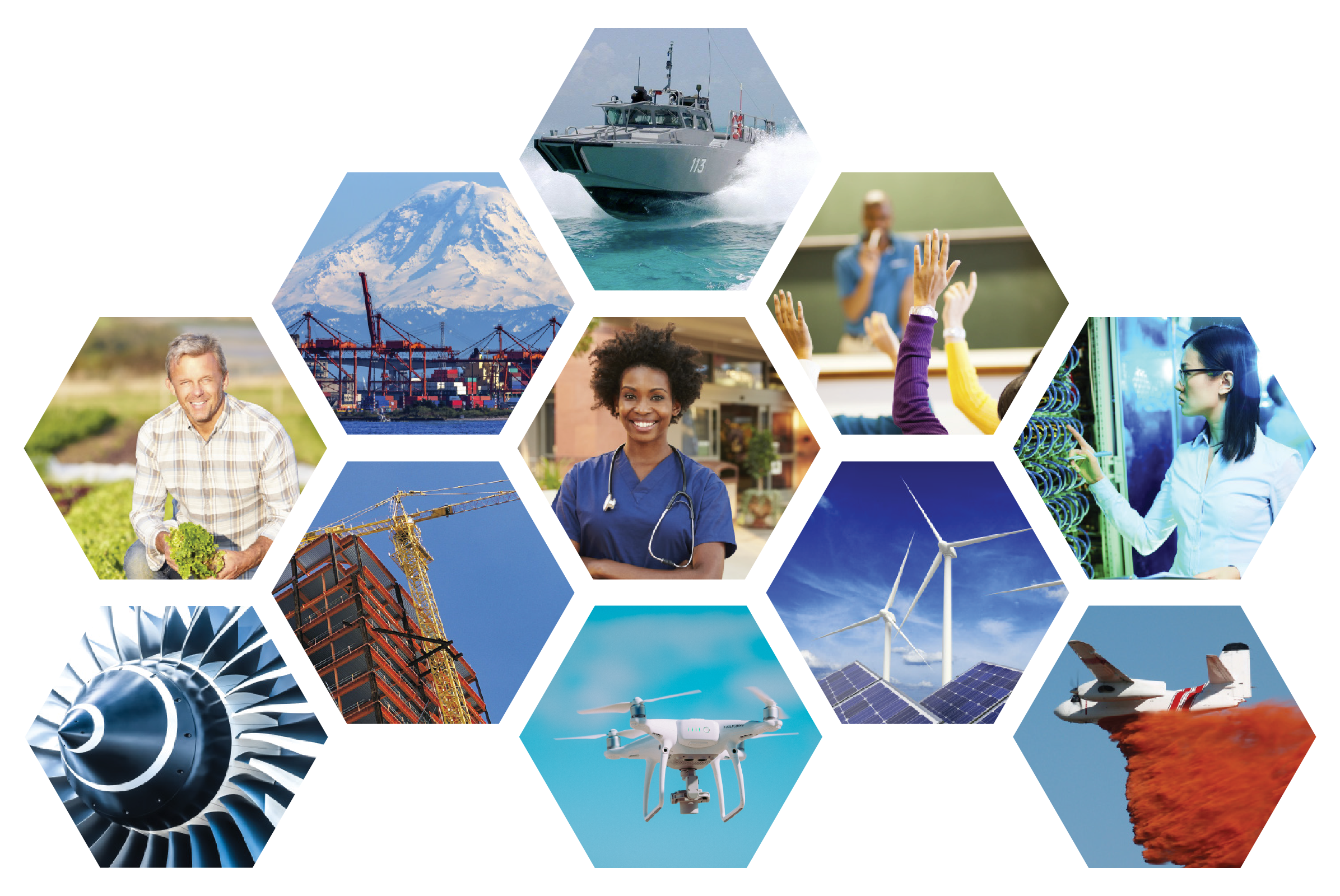 Grid of hexagon images representing industries the Centers of Excellence represent including aerospace, education, construction, and healthcare.