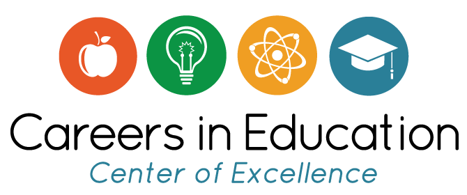 Apple, lightbulb, atom, graduation cap in four circles above the words Careers in Education Center of Excellence