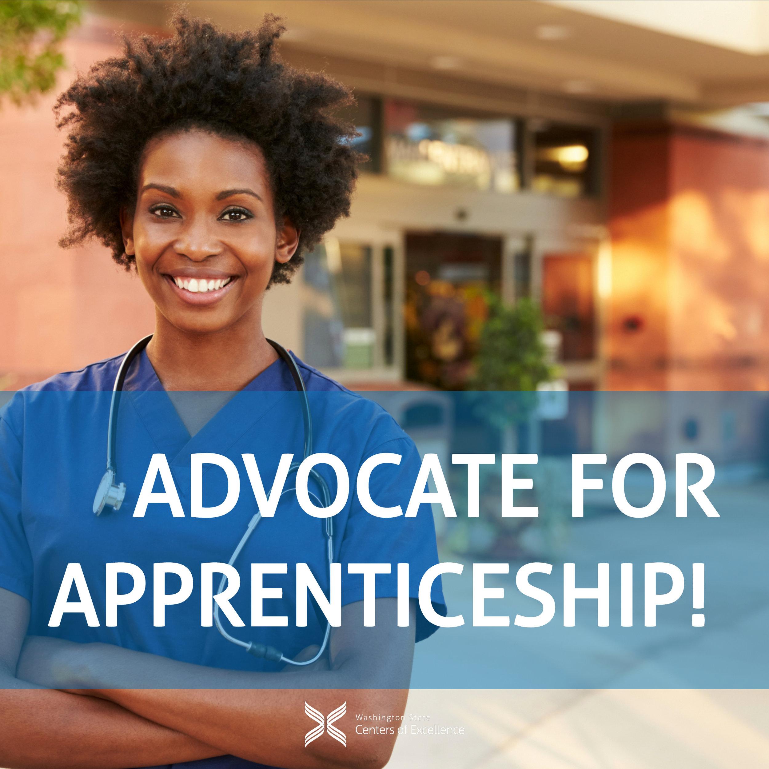 """Advocate for Apprenticeship"" - Nurse apprentice standing in front of building"