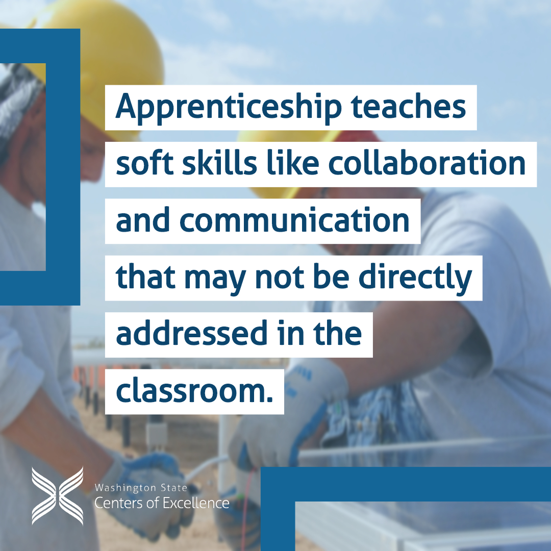 """""""Apprenticeship teaches soft skills like collaboration and communication that may not be directly addressed in the classroom"""" - two construction workers collaborating on a job site"""