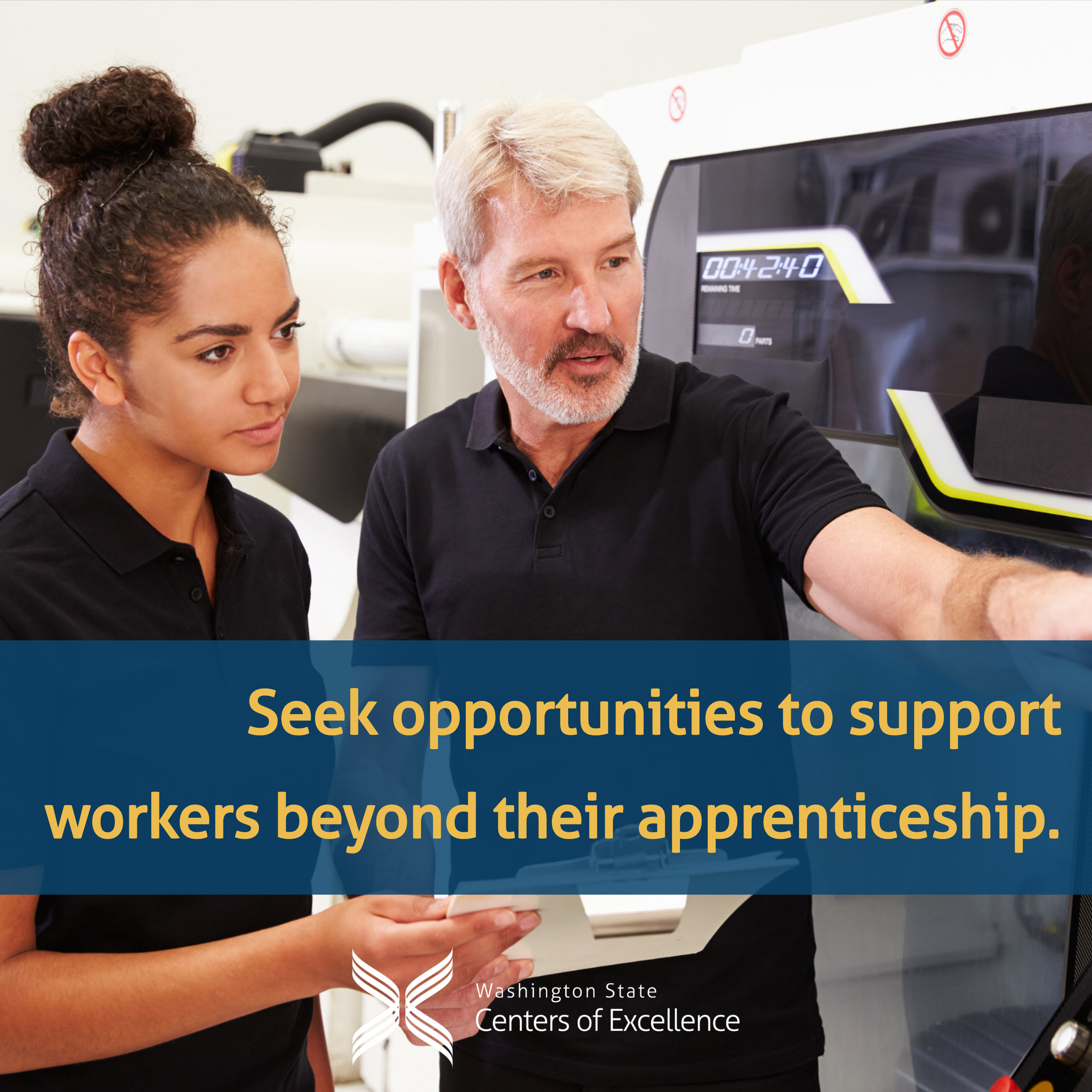 """""""Seek opportunities to support workers beyond their apprenticeship"""" - teacher pointing at equipment with apprentice watching"""