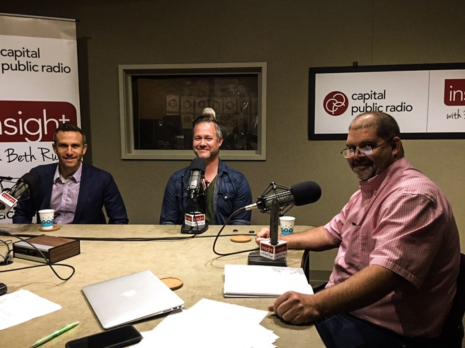 SRFC COO Ben Gumpert (left), World Relief Sacramento spokesman Micah Albert (center) and World Relief Sacramento Director Kerry Ham (right) on Capital Public Radio's Insight with Beth Ruyak.