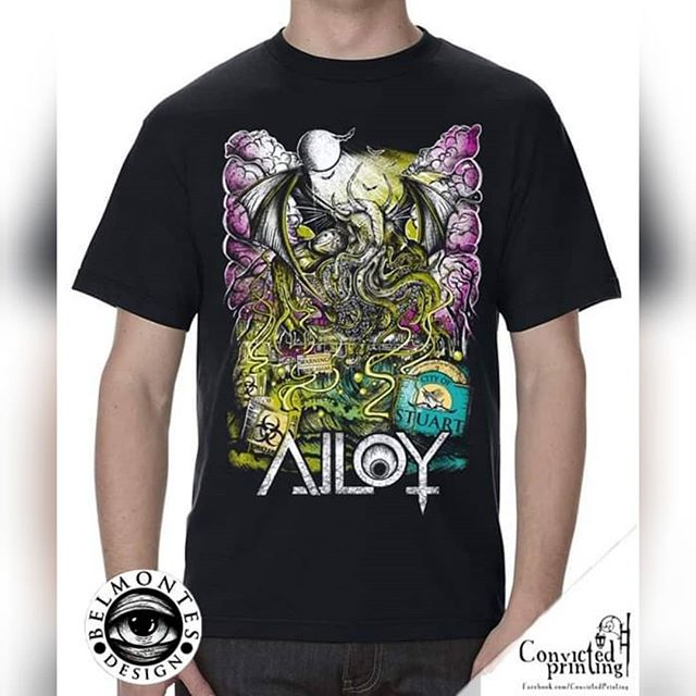 ALLOY is excited to announce our new line of merchandise in collaboration with Belmontes Design, Endorsed by Convicted Printing.  Pick one up at our show tomorrow, 8/14! . . . @seconddeath @alloyband @deathofadeity @siketheband A Faint Rembrance @deaddreamsbooking.fl  #ALLOY #metalmerch #cthulhu #new #metal #metalband #metalshirt #hoodie #shirt #southfloridamusic #floridamusic #stuartmusic #pslmusic #localshow #metalmusic #metalshow #blackshirt #whiteshirt #hoodie