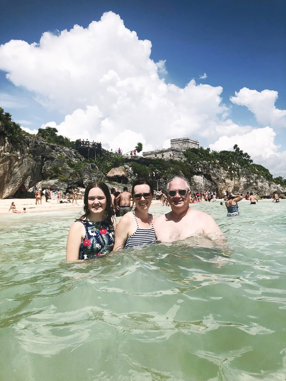 Swimming near the Tulum Ruins on our Cozumel Excursion