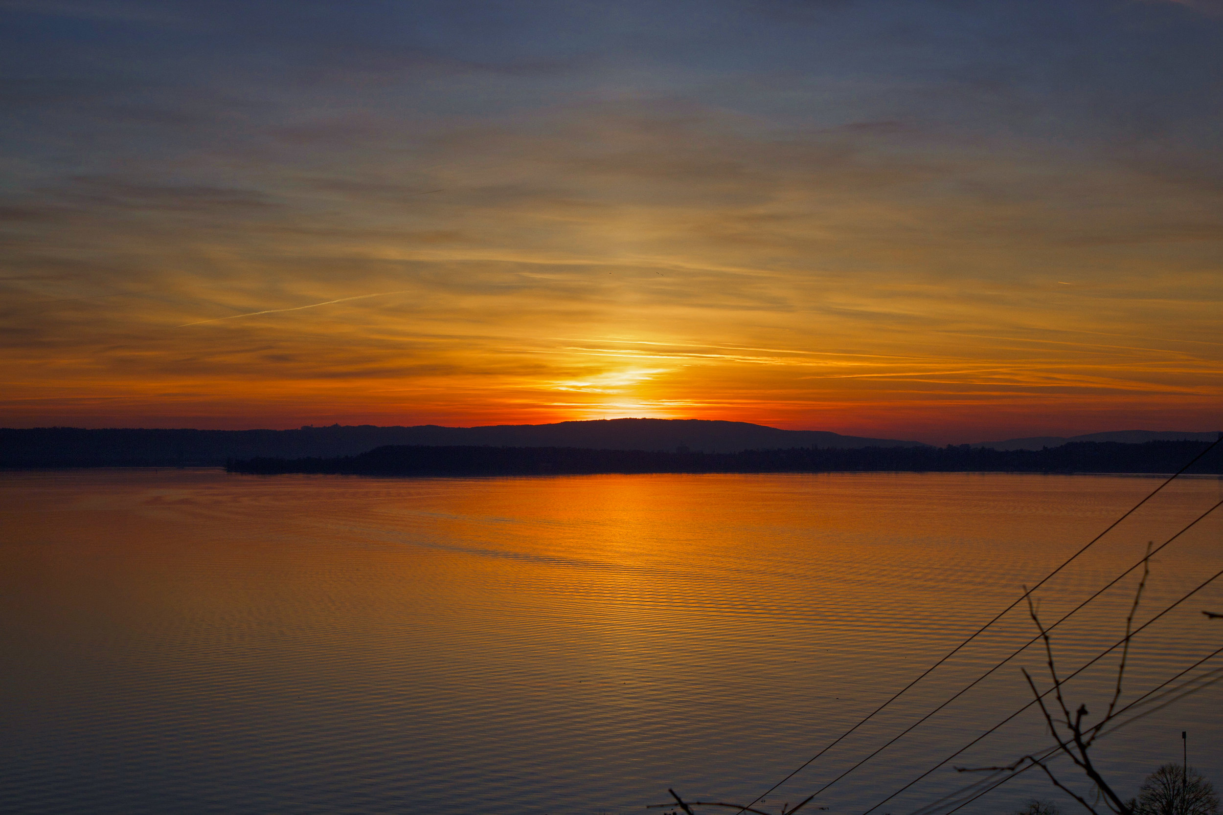 sunset over lake constance - konstanz - in germany