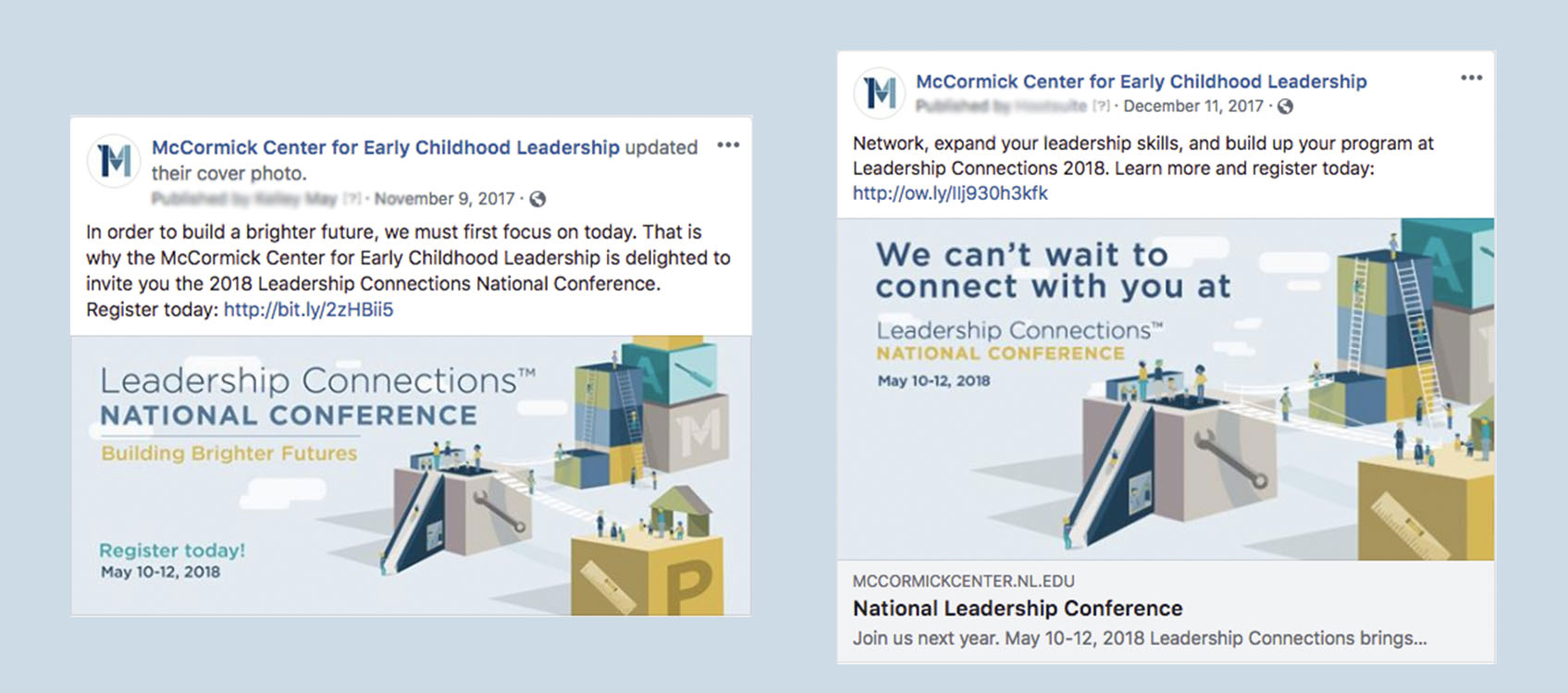 General Facebook posts promoting the conference.