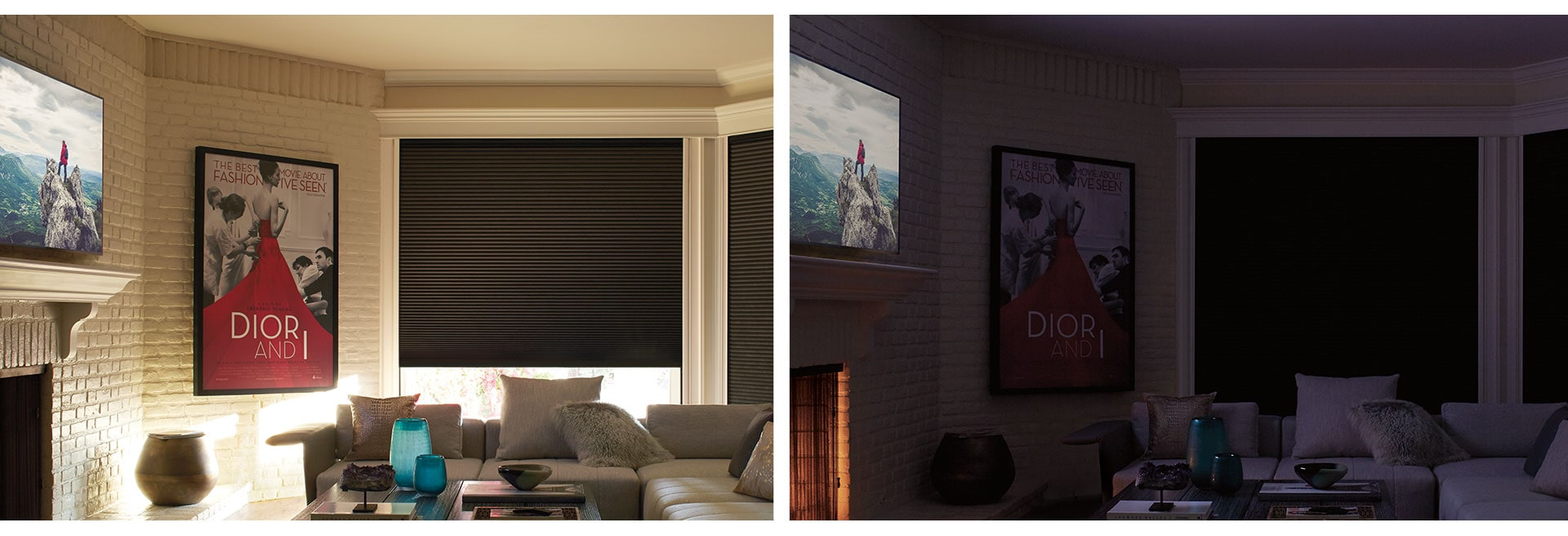 Duette® Honeycomb Shades (FIRST PHOTO) OPENED DUETTE SHADE ***BEFORE & AFTER PHOTO*** (SECOND PHOTO) CLOSED DUETTE SHADE WITH COMPLETE DARKNESS