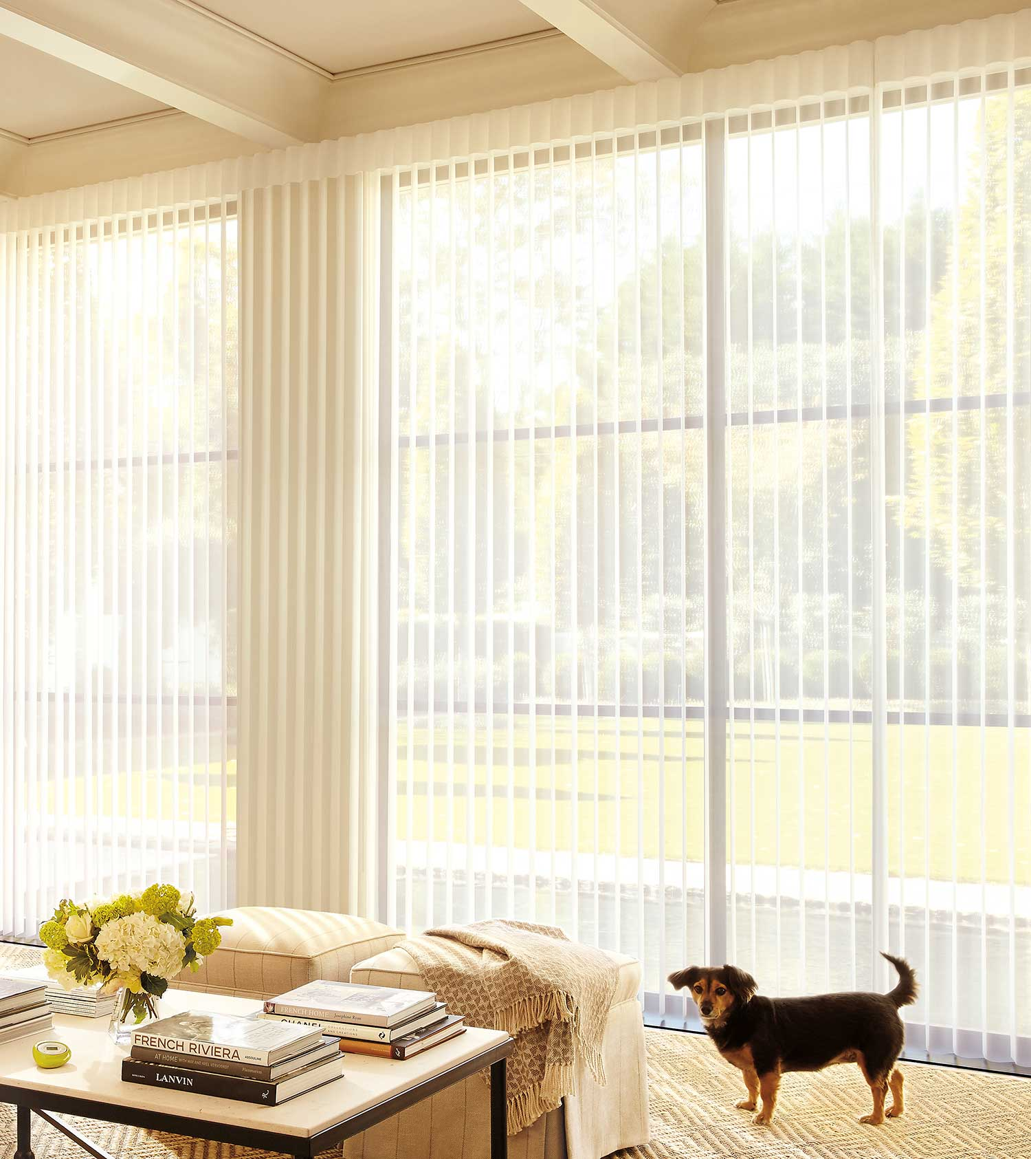FILTER OUT GLARE - Sunlight is diffused through the Luminette® Privacy Sheers and spread evenly throughout your room to maximize daylight and reduce your need for artificial light. The fabric vanes can be positioned to minimize the UV rays entering the room, helping to protect your furniture and flooring from fading.