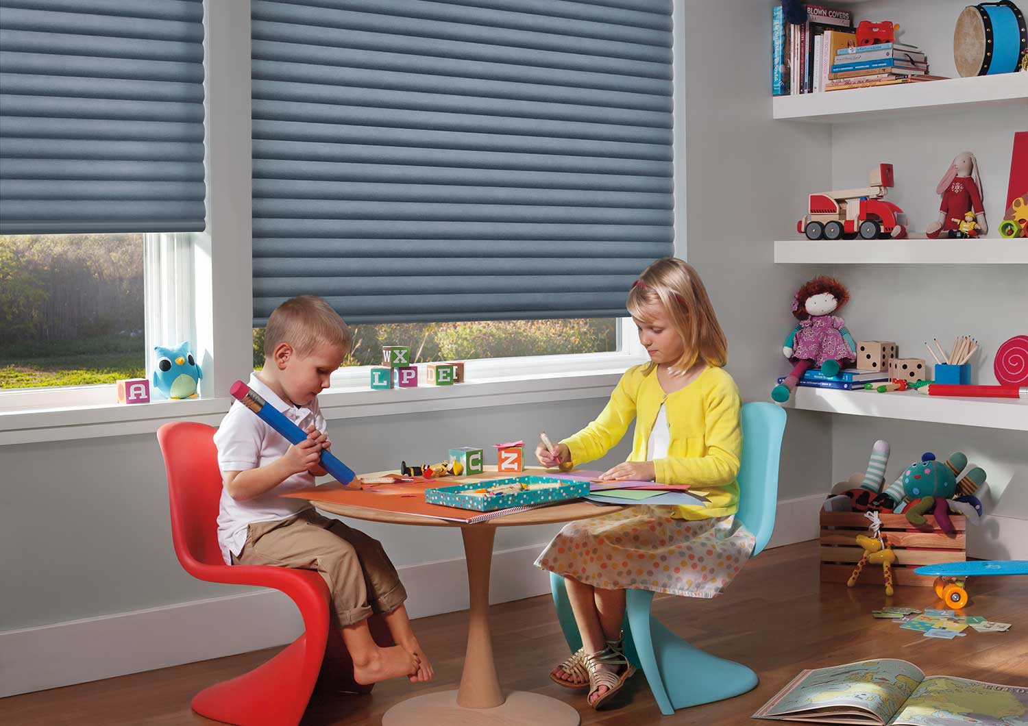 SAFETY IS EVERYTHING - Sonnette™ Cellular Roller Shades are 100% cordless for enhanced safety, convenience and ease of use in homes with children or pets. This is a great window treatment to help protect your little ones!
