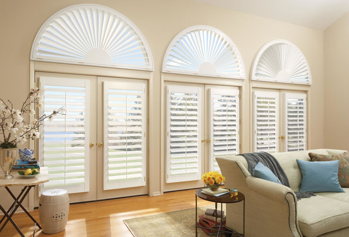 Arched & Angled Window Shutters - Angled windows, arched shaped windows, trapezoid windows & specialty shaped window shutters.