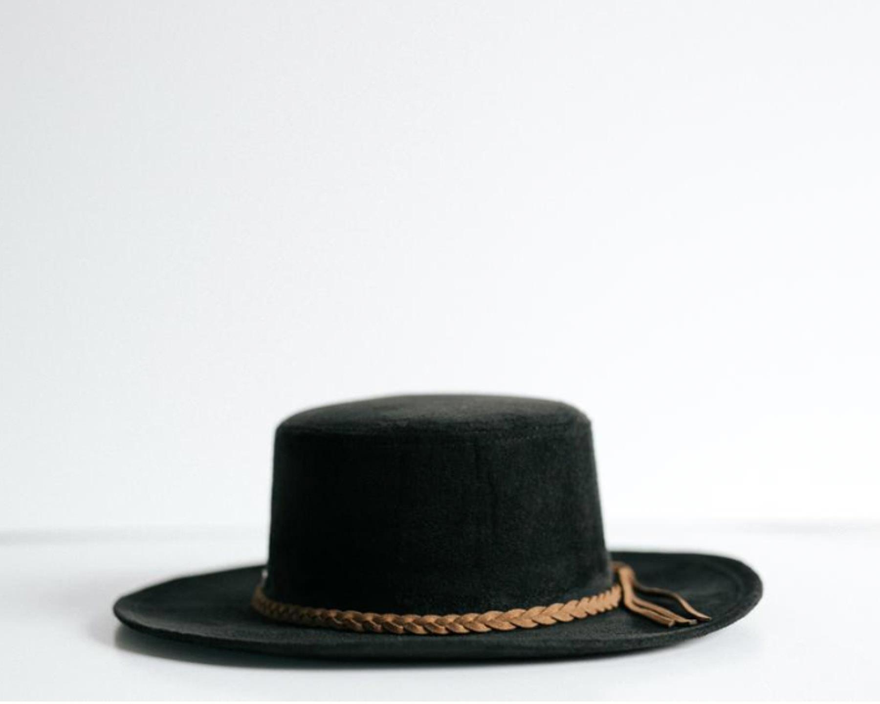 Estee: Suede Boater Hat