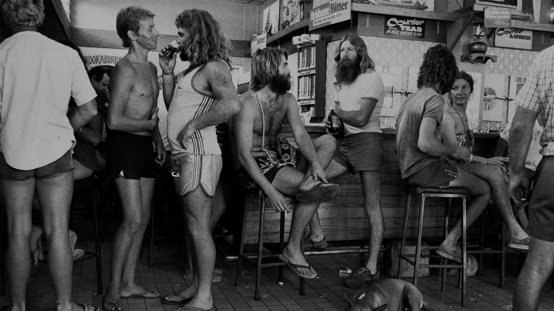 Old photo of men hanging out in an Australian shop