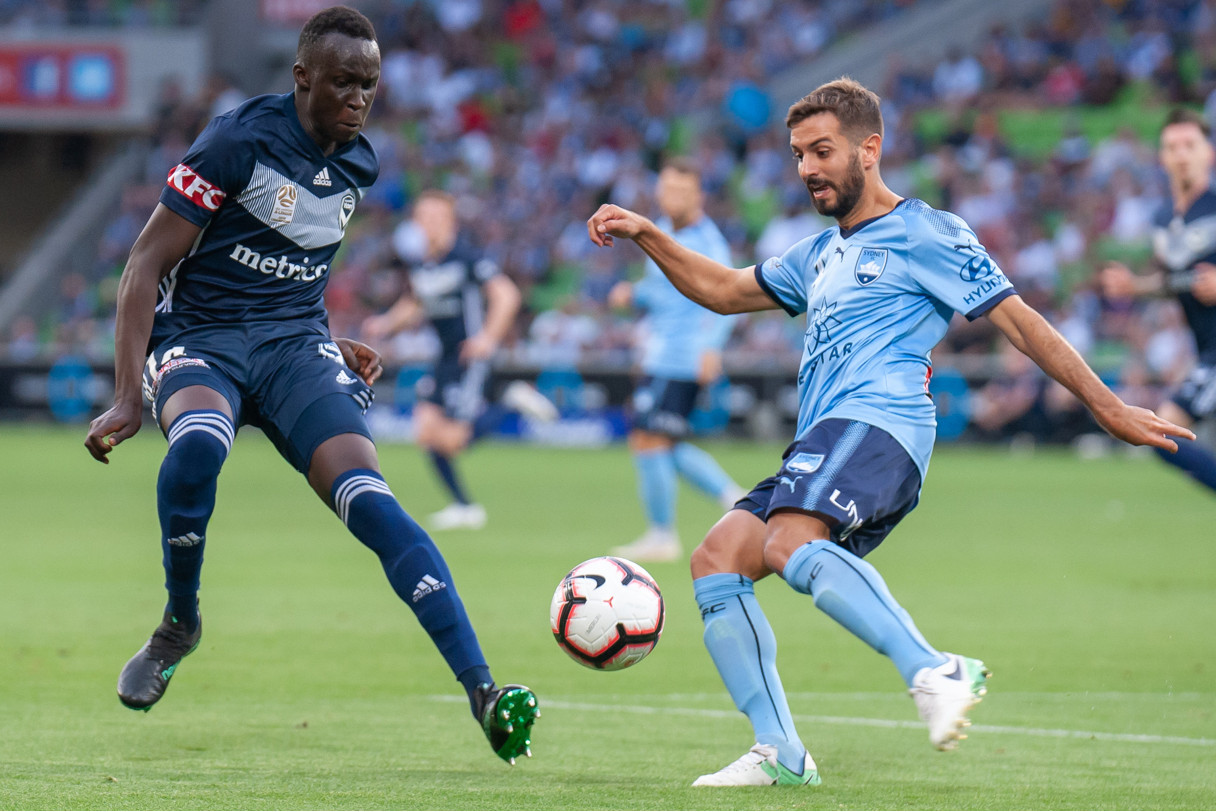 MELBOURNE, VIC - JANUARY 26: Melbourne Victory defender Thomas Deng (14) competes for the ball at the Hyundai A-League Round 16 soccer match between Melbourne Victory and Sydney FC at AAMI Park in VIC, Australia 26 January 2019. (Image by Speed Media/Icon Sportswire)