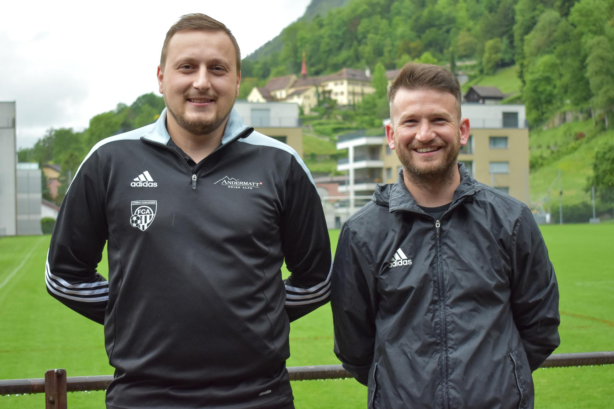 Die beiden neuen FCA II-Trainer Florian Berisha und Mathias Lussmann. Foto: FC Altdorf