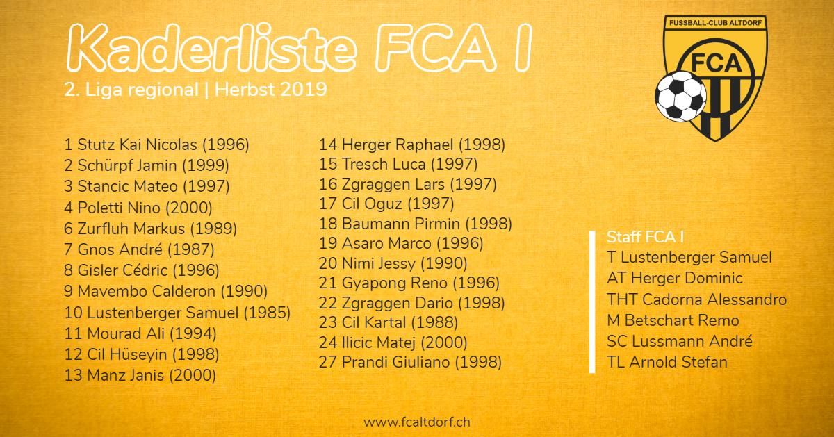 Kaderliste FCA I