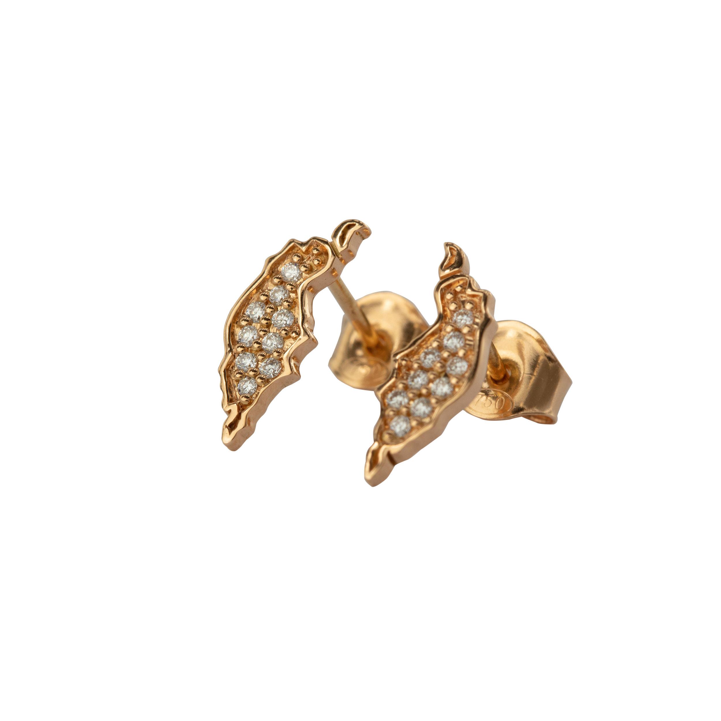 ''ÖJN'' MINI EARRINGS GOLD DIAMONDS