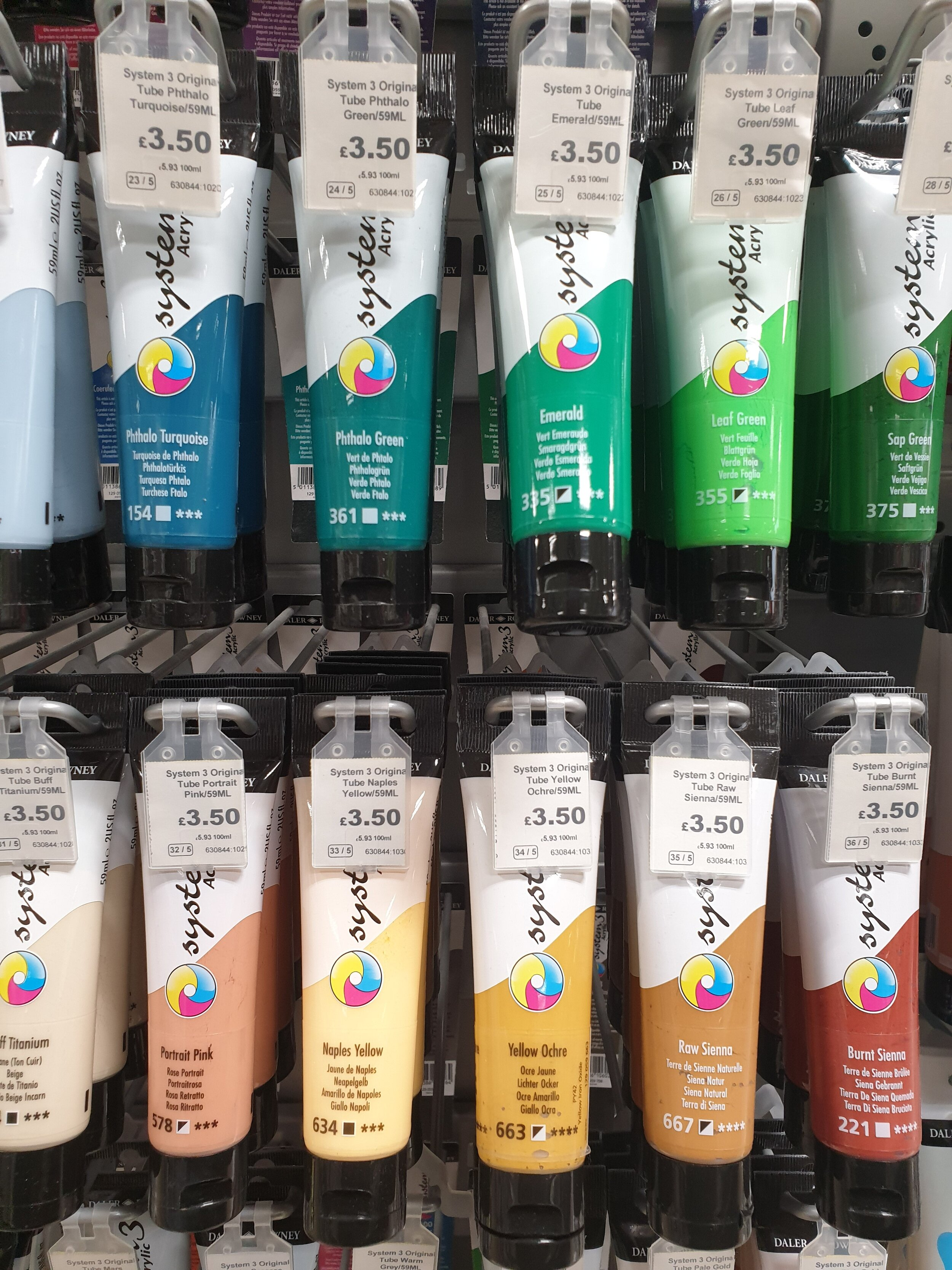 Daler Rowney system 3 offer a great range of pre-mixed tones with great pigment, they are definitely my favourite mid-range brand!