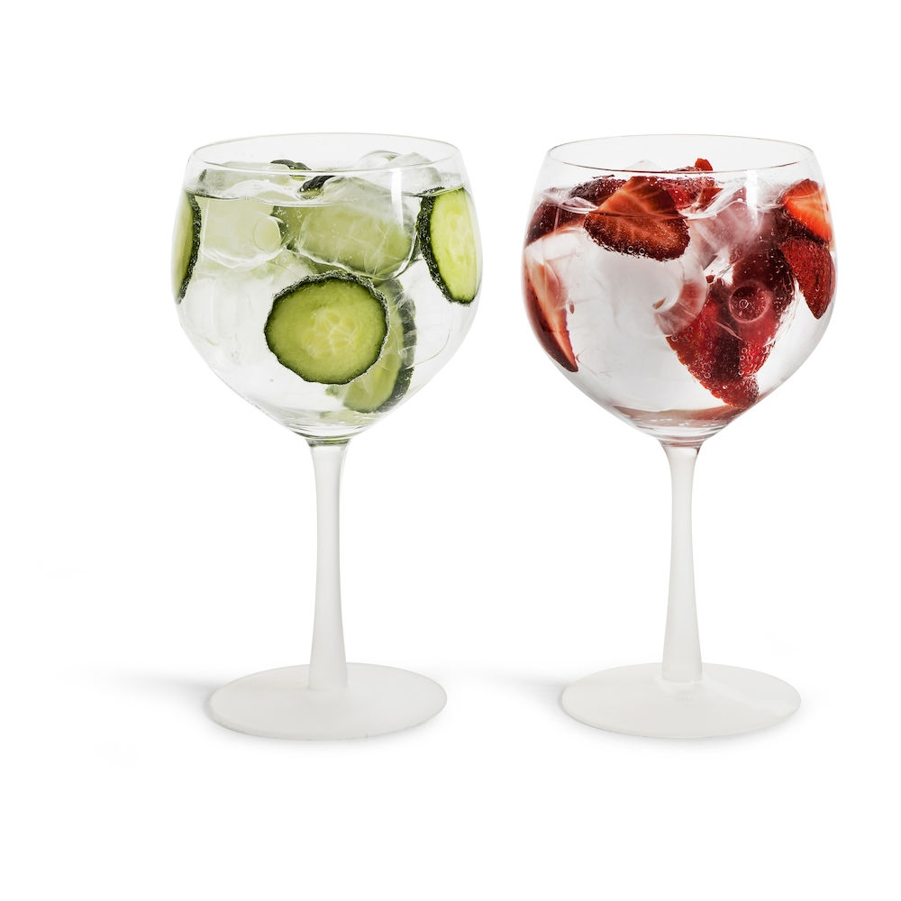 Sagaform Gin Glasses - £22.95 - Perfect for evening dinging, these gorgeous gin glasses feature a quirky frosted stem are great for serving a cocktail of your choice, OR go for a classic G&T with the obligatory ice and a slice. At just £22.95 for two, these are a great buy for your dining on a budget.