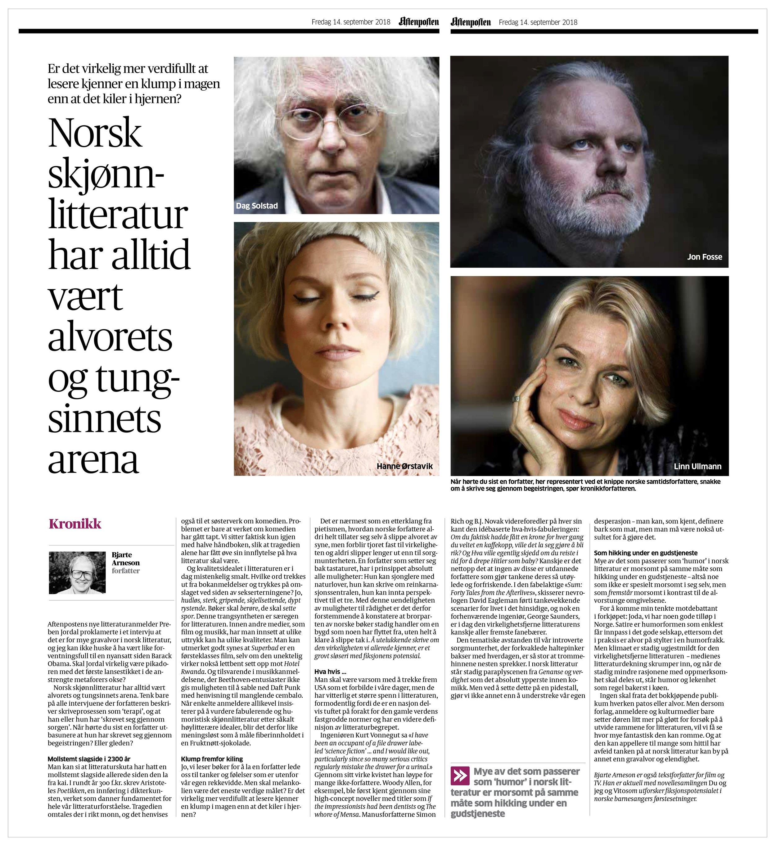 Kronikk om mangelen på humor i norsk litteratur.