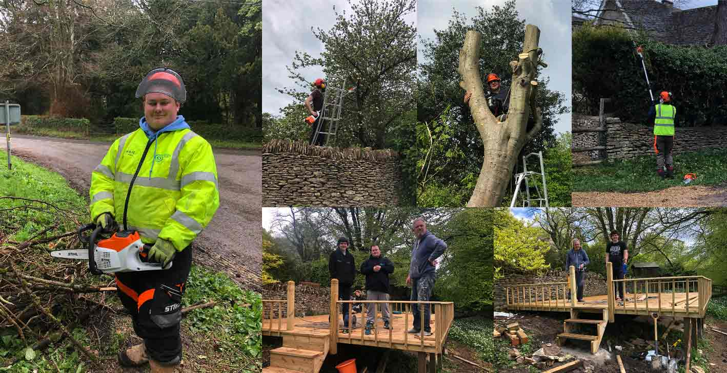 A few examples of the maintenance work we are qualified to undertake.  Land services, tree surgery and deck building. On the more complex work, we involve our reliable and registered tradesmen.