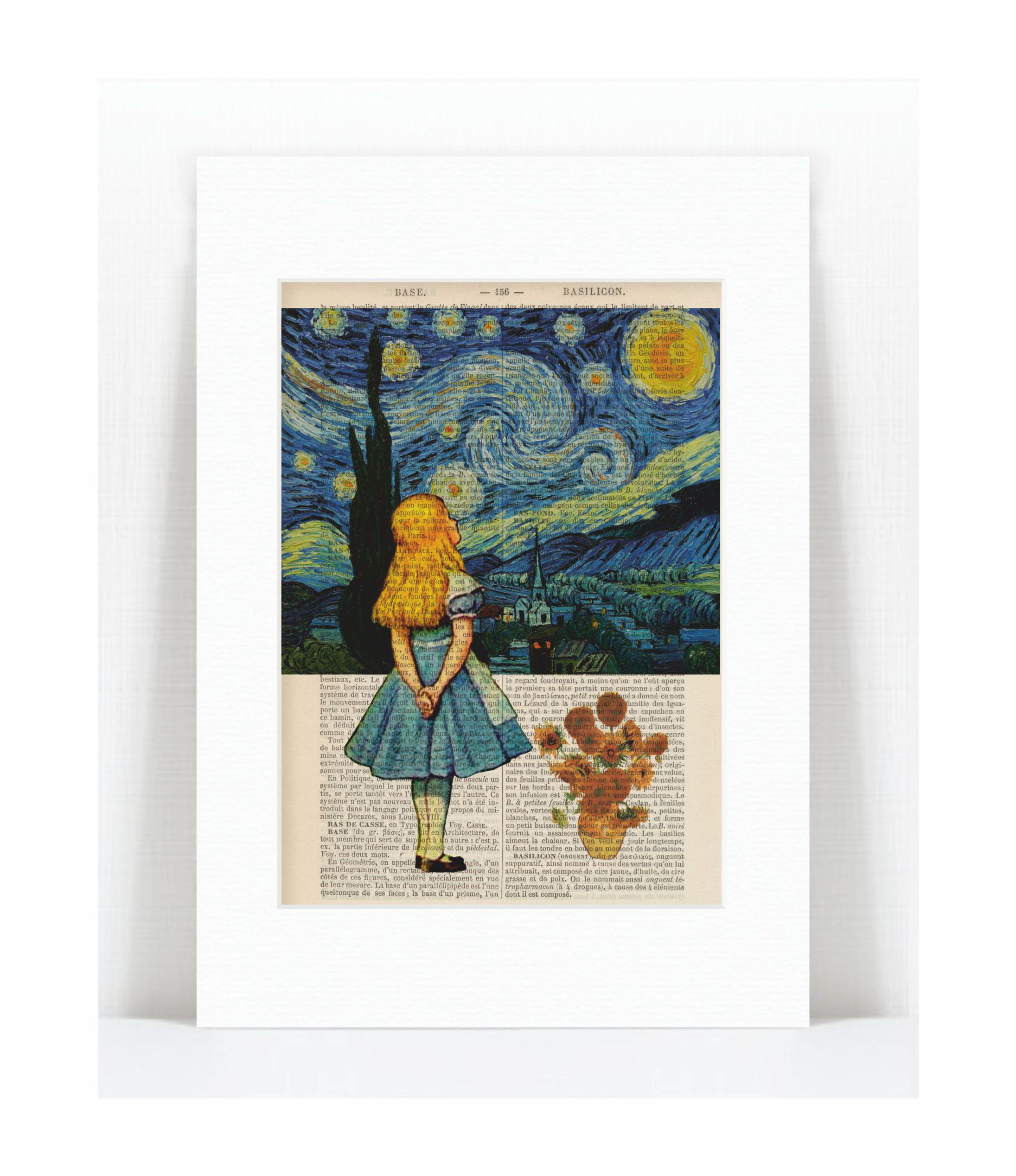 Alice Meets Vincent Van Gogh S Starry Night And Sunflowers Print Pat Byrne Prints