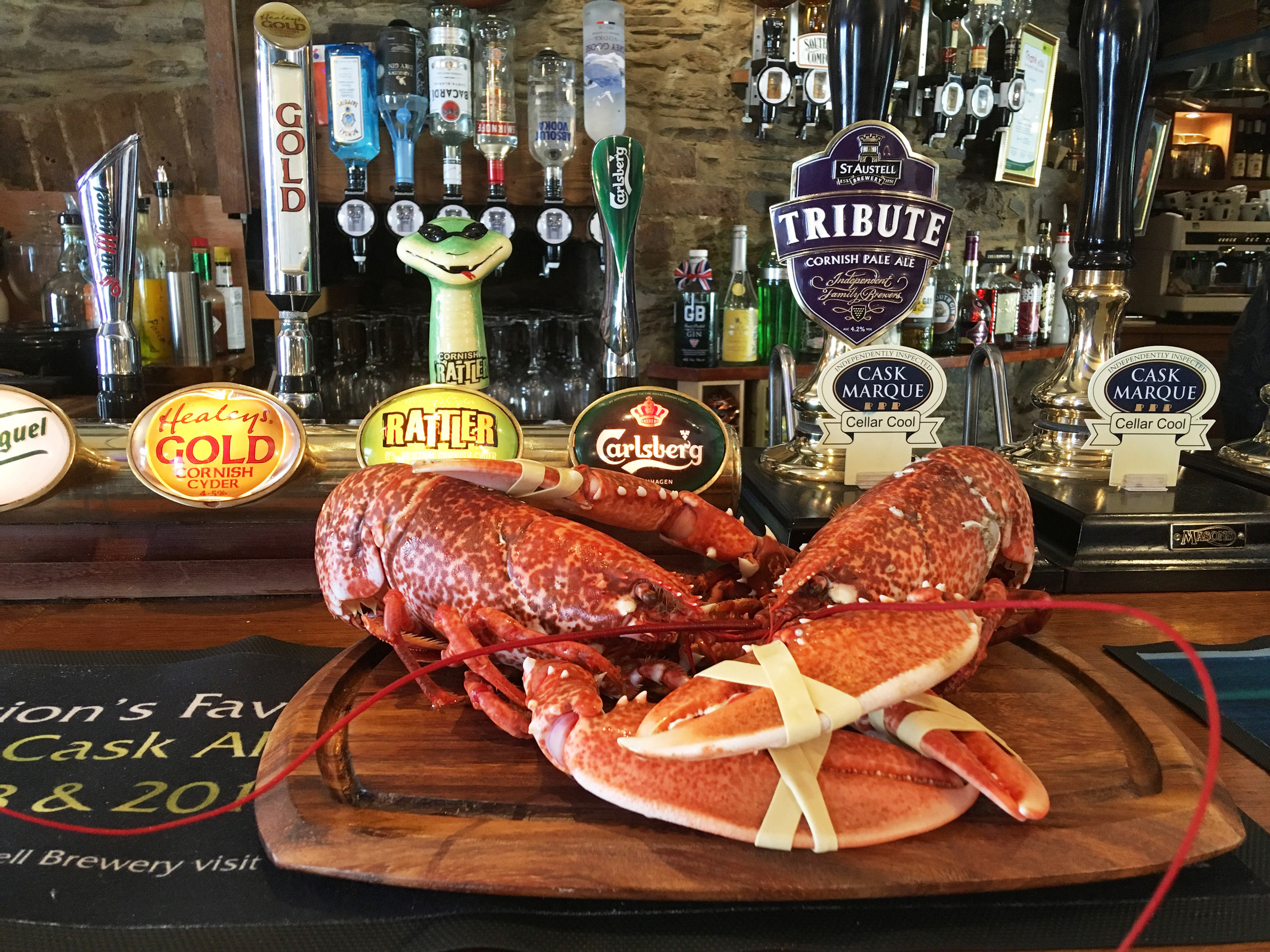 Fresh lobster on the bar