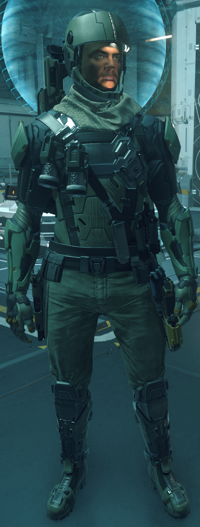 DUTY UNIFORM:  UNDERSUIT: TCS-4…………………………………………………………….PORT OLISAR  HELMET: FIELD RECON…………………………………………………….PORT OLISAR  CHEST: LYNX CORE BASE……………………………………………………...GRIM HEX  ARMS: INQUISITOR ARMS GREEN………………………………………..GRIM HEX  LEGS: LYNX LEGS BASE……………………………………………….…………GRIM HEX  PRIMARY WEAPON:  CUSTODIAN SMG DESERT SHADOW………………………………….…GRIM HEX  SIDEARM:  LH86 BALLISTIC PISTOL DESERT SHADOW…………………..……GRIM HEX  UTILITY:  MK-4 FRAG GRENADE x2…………………………..……….VARIOUS LOCATIONS  MED-PEN x2……………………………………..………………..…VARIOUS LOCATIONS  OXYPEN x2…………………………………………………………...VARIOUS LOCATIONS  PYRO RYT MULTI-TOOL………….……………………………………………..…LORVILLE