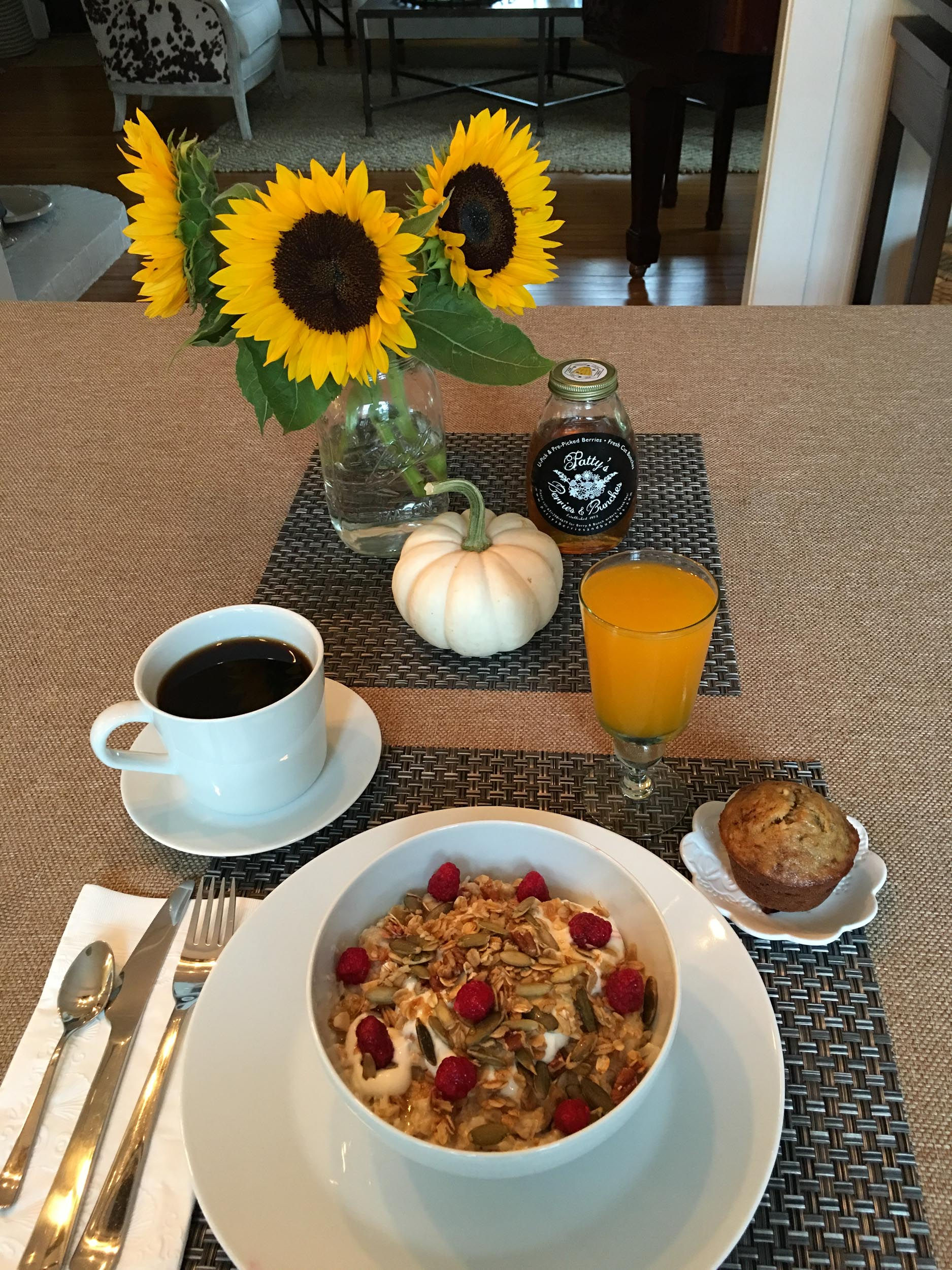 Autumn breakfast granola juice flowers.jpg