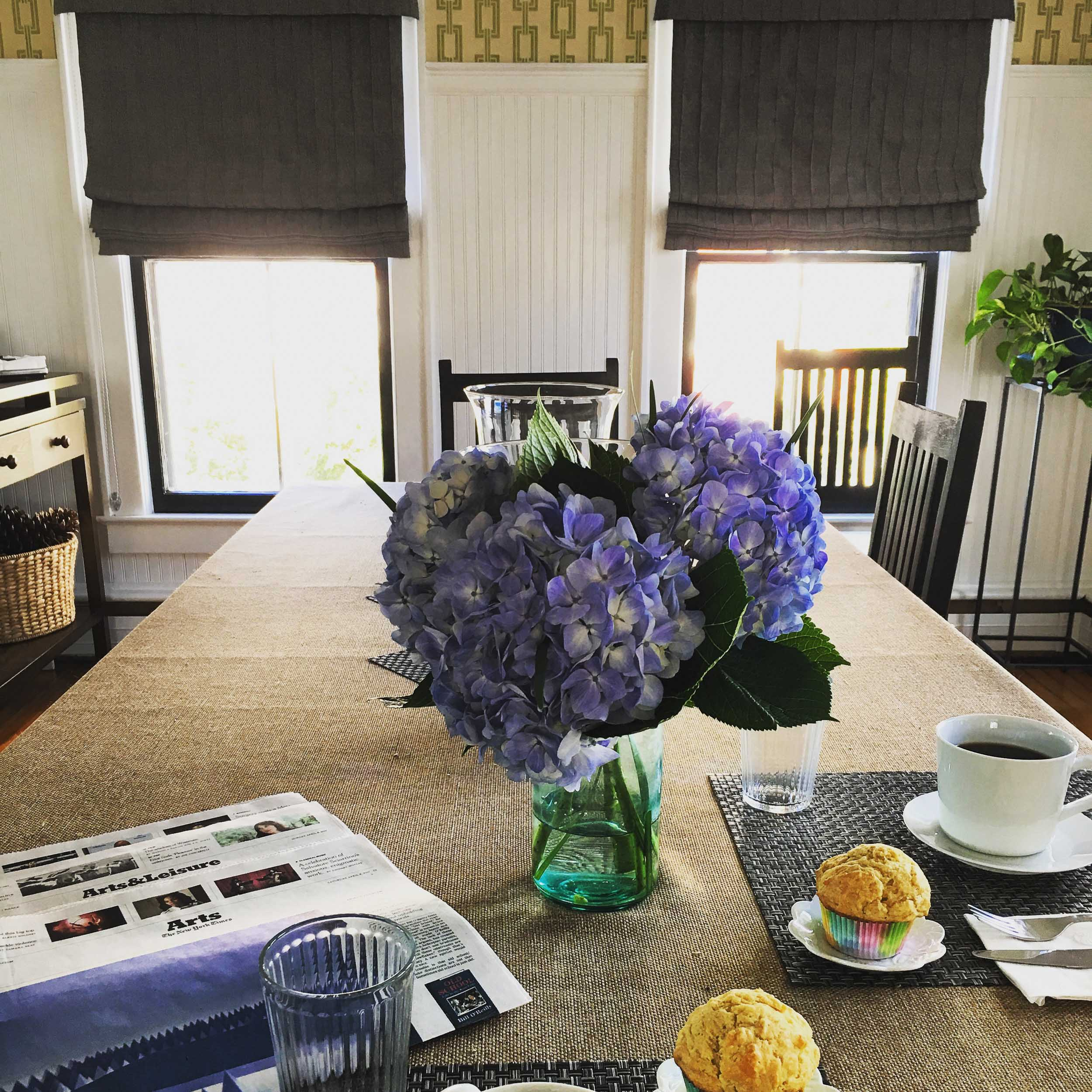 Breakfast setting hydrangea new york times paper.jpg