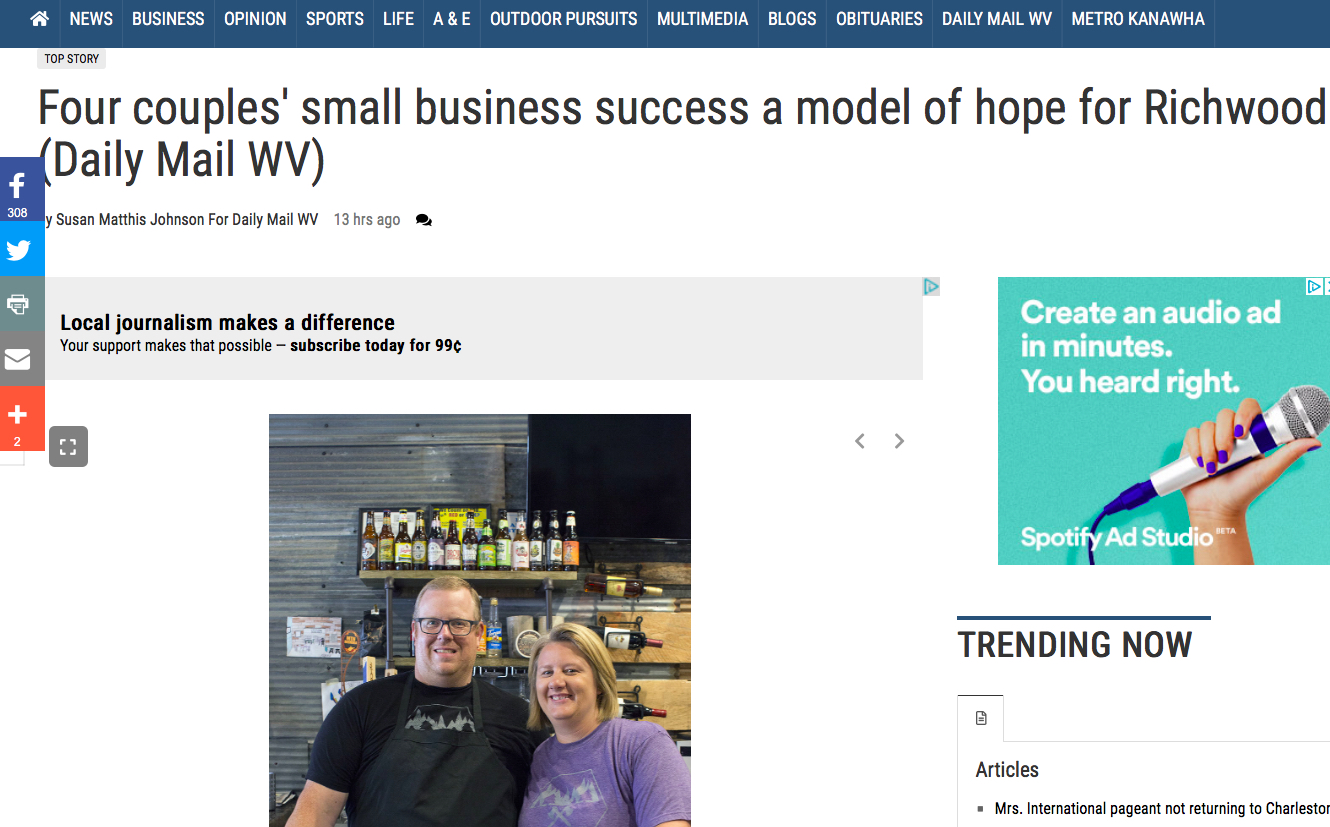 WV Gazette,July 26, 2019 - https://www.wvgazettemail.com/dailymailwv/daily_mail_features/four-couples-small-business-success-a-model-of-hope-for/article_c06f3b85-3289-5e6c-8770-93645ce360c2.html