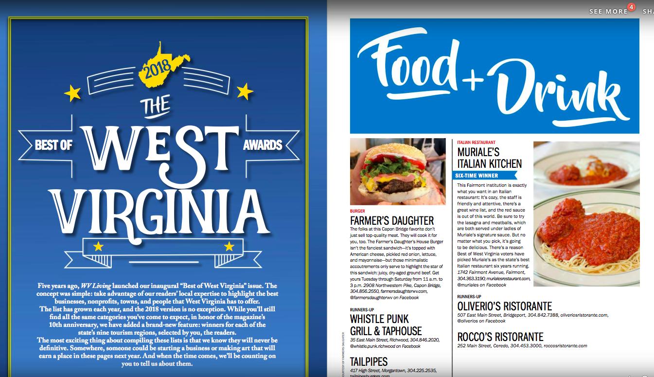 West Virginia Living, Best of WV, Winter 2018   https://issuu.com/wvliving/docs/winter_wvl_2018_issuu_final_file