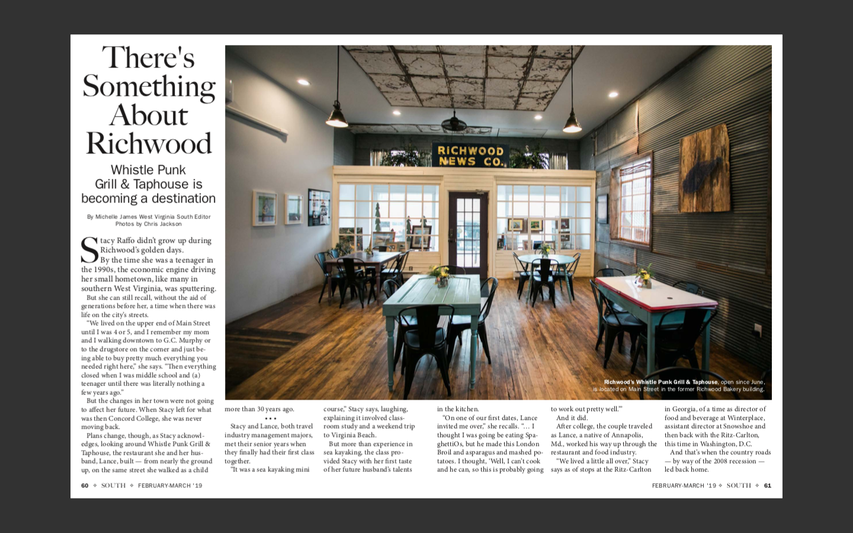 WV South Magazine, February - March, 2019   https://view.joomag.com/mag/0220396001548447261?feature=archive&fbclid=IwAR0KKakfI-wJJu1q7JvgYTzK8DEYgCRZJtLogDj-Xaia-v-SYTwlLTDZe4k