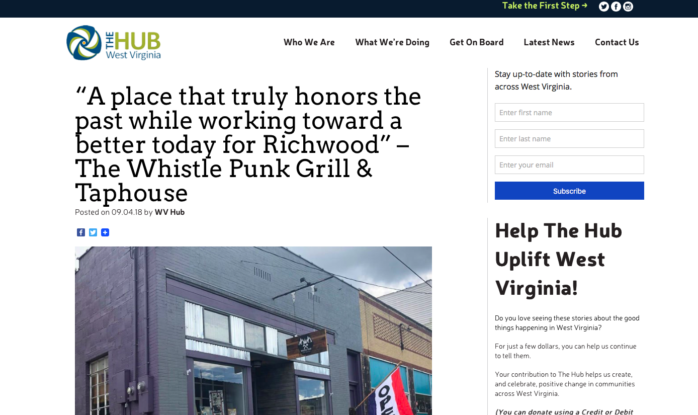WV Community Development Hub   http://wvhub.org/a-place-that-truly-honors-the-past-while-working-toward-a-better-today-for-richwood-the-whistle-punk-grill-taphouse/