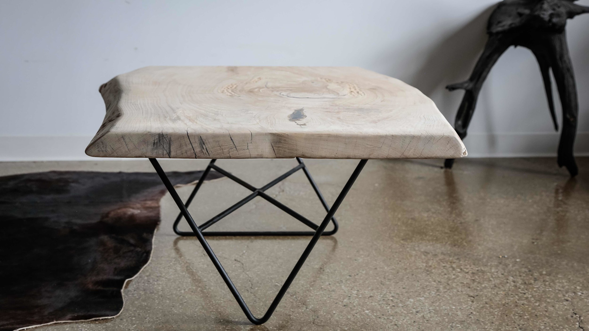 ash coffee table with metal legs