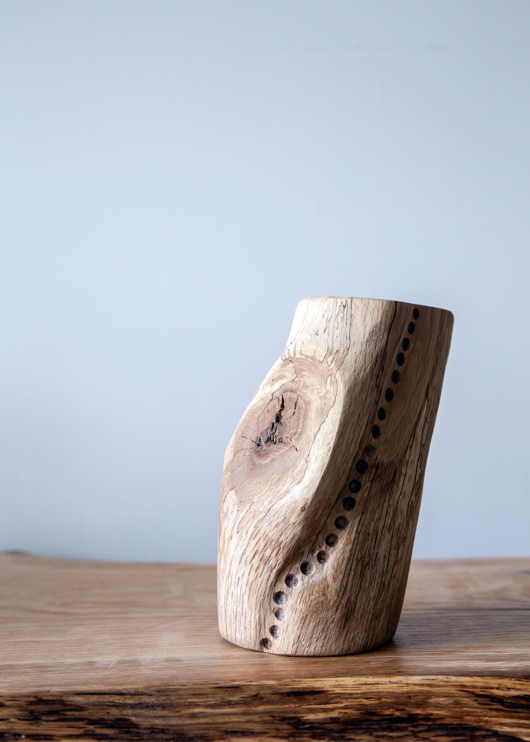 spalted oak totem