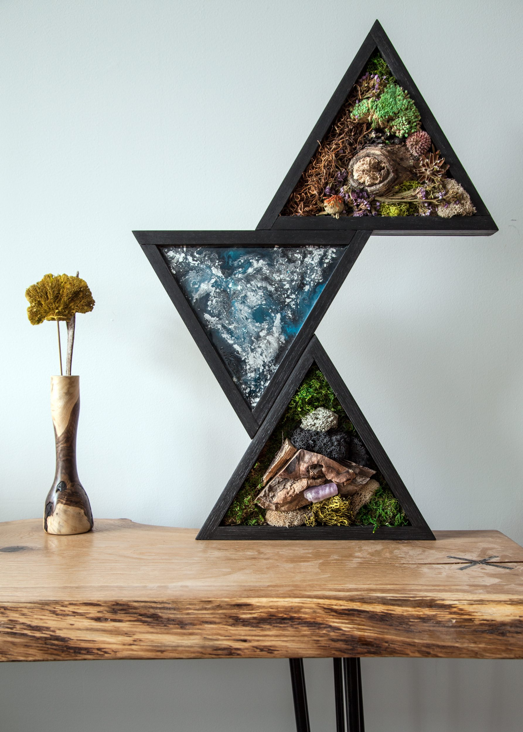 Moss and resin design in triangle frames - SOLD