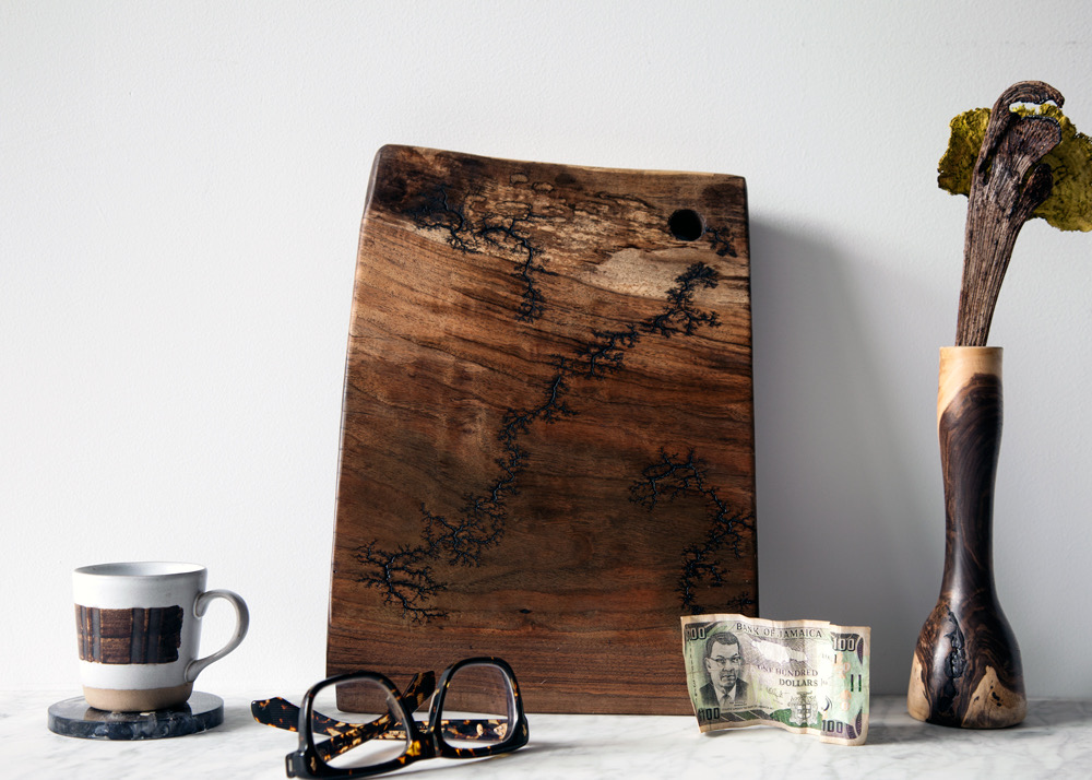 Spalted Black Walnut Cutting Board With Fractal Burning - SOLD
