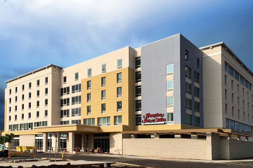 HAMPTON INN AND SUITES - Kapolei, Oahu, HISix story reinforced concrete building with concrete shear walls and post-tensioned slabs with 102,000 square feet.Contractor: PCLArchitect: ARCHITECTURAL DIMENSIONS