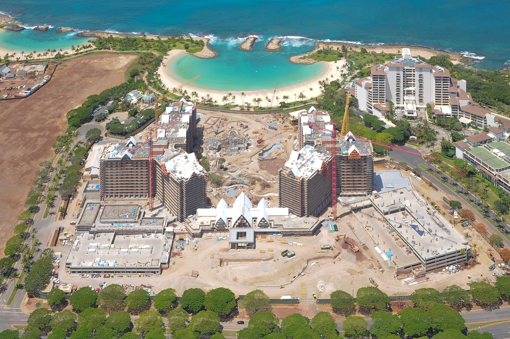 DISNEY'S AULANI RESORT AND SPA PARKING STRUCTURES - KoOlina, Oahu, HIA five story and a three story post-tensioned concrete parking structure for a total of 850 cars.