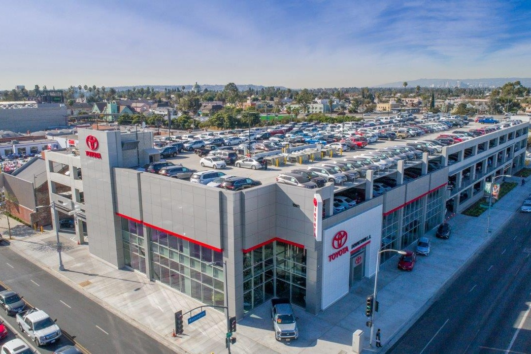 TOYOTA OF DTLA PARKING STRUCTURE AND AUTO REPAIR - Los Angeles, CAFour story post-tensioned concrete structure for 186 cars plus tall basement level maintenance facility for vehicles.Contractor: BOMEL CONSTRUCTIONArchitect: PARKING DESIGN SOLUTIONS (PDS)