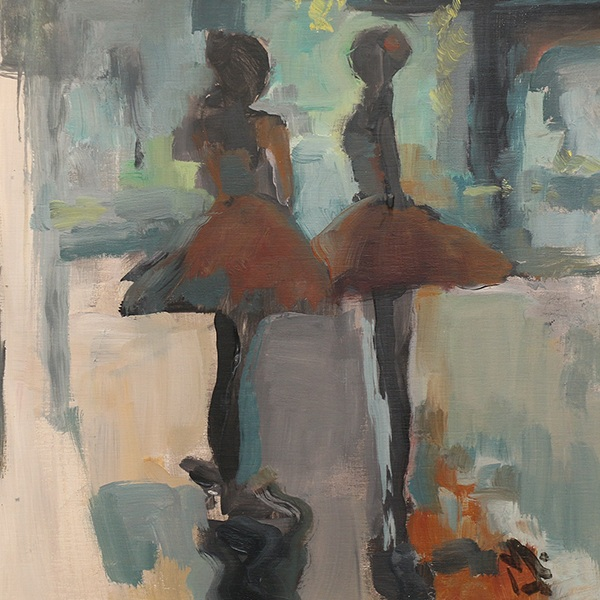 Mandi Moerland  Mandi Moerland didn't set out to be a visual artist. Her first love was dance, and her oil paintings explore her artistic focus to combine movement, figure, and abstraction.